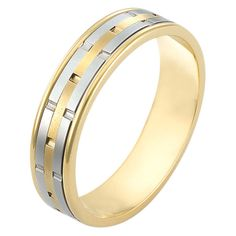Superb  kt two tone hand made fort fit Wedding Band mm wide There