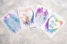 Watercolour Heart Wedding Invitation - Invite Suite sample