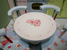 1:12th Scale Miniature dollhouse Shabby Chic Hutch kitchen table and chairs set inspired by Cath Kidston