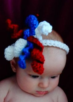 Fourth of July baby headband red white and blue