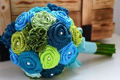Wage Farbe zu Deiner Hochzeit... farbenfrohe myBOUQUETs in Deinen lieblingsfarben, passend zum Farbenspiel Deiner Hochzeit. WEDDING | myBOUQUET | Aqua-Green (Crochet & Fabric Flowers)