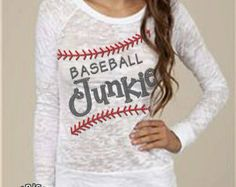 Baseball junkie long sleeve burnout tee