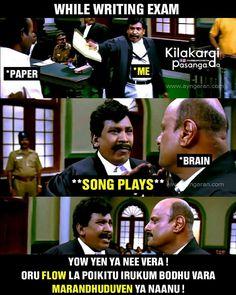 Exams Memes, Exams Funny, Exam Quotes Funny, Funny Qoutes, Tamil Funny Memes, Tamil Comedy Memes, Funny Comedy, Latest Funny Jokes, Funny School Jokes
