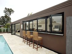 Airlite bi-fold windows love to be pushed aside. Aluminium, Furniture, Outdoor Decor, Bifold, Windows, Home Decor, Room Divider, Swimming Pools, Restaurant Patio