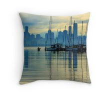 Melbourne Skyline Reflections Throw Pillow