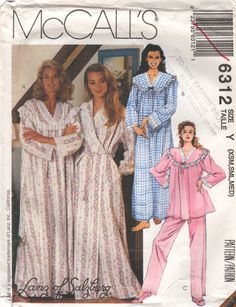 McCalls 6312 Misses Wrap Robe Pajamas and Nightgown Pattern LANZ of  SALZBURG Womens Sewing Pattern Size Lg Xl Bust 38 - 44 UNCUT 484a6a4b1