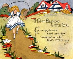 Art Deco Happy Birthday little girl card, ca. Cool Birthday Cards, Vintage Birthday Cards, Vintage Greeting Cards, Vintage Postcards, Vintage Images, Happy Birthday Little Girl, Girl Birthday, Birthday Stuff, Birthday Greetings