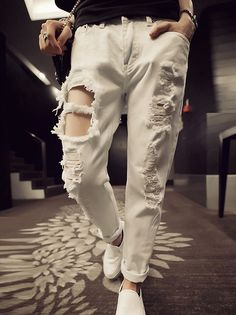Women's Cool Chic Pure Color Hole Denim Mid-Waist Slim Harem Pants White on buytrends.com