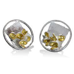 Sterling Hammered Earrings - Sterling Silver, 22K Gold Yellow Gold Flourishing, 18K Gold Beads by Liaung - Chung Yen