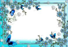 Blue Flowers Transparent PNG Photo Frame with Hearts and Butterflies