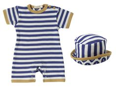 Striped Summer New Baby Romper & Sun Hat