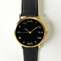 Women Watches, Mens watch, Unisex Watch, Leather watch, Vintage Style, Math Watch, Simple Math, Unique Watches, Black Dial Ships Worldwide Type: Quartz
