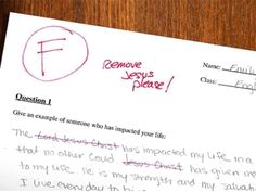 RT IF YOU WOULD HAVE THE TEACHER REMOVED IF ONE OF YOUR CHILDREN'S TESTS CAME HOME LIKE THIS!  #tcot
