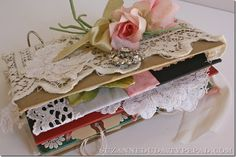 How to Make a Vintage Journal - using an old book cover & pieces of vintage linens & lace. She has a lot of examples of journal pages on the post - via Suzanne Duda Shabby Vintage, Shabby Chic, Vintage Art, Journal Covers, Book Covers, Journal Art, Junk Journal, Art Journals, Journal Ideas