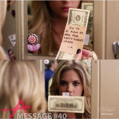Message from A (with money attached). Sent to Hanna. Hanna's locker at Rosewood High. 13 of 150 // Season Episode Pretty Little Liars Netflix, Prety Little Liars, Pll, Abc Family, Tv Show Quotes, Get To Know Me, Best Tv Shows, Pretty Girls, First Love