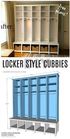 Locker Style Mudroom: Locker Cubbies Build these locker style mudroom locker cubbies for your space. With an organize system all the shoes jackets and things have a place! The post Locker Style Mudroom: Locker Cubbies appeared first on Woodworking Diy. Mudroom Cubbies, Mudroom Laundry Room, Mud Room Lockers, Entry Lockers, Garage Lockers, Wood Lockers, Diy Locker, Locker Storage, Halls