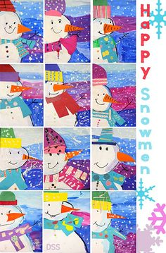 This happy snowman teaches color theory, collage techniques, and perspective in about two, 45-minutes art classes. I did this project with two first grade classes and varied the sequence or steps to s