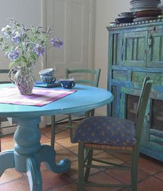 turquoise table,  cabinet