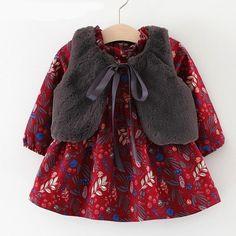 Grey Faux Fur Gilet, White Fur Vest, Girls Belle Dress, Little Girl Dresses, Toddler Dress, Baby Dress, Dark Red Dresses, Baby Girl Princess, Cute Dresses