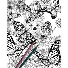 Printable corgi coloring page digi stamp traditional line art instant digital download dog print greeting cards butterfly by Susan Alison