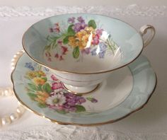 E Brain Foley China Tea Cup and Saucer Teacup por TheEclecticAvenue
