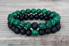 Shungite malachite bracelets set green от HarmonyLifeShop на Etsy