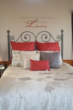 Is this the cutest thing you have ever seen?! I so love this! Uppercase Living comes up with the most neatest things! The headboard is vinyl! And the expression above is also. If you have any questions let me know! The headboard comes in twin, full, queen sizes. Check out my website at http://sharonm.uppercaseliving.net