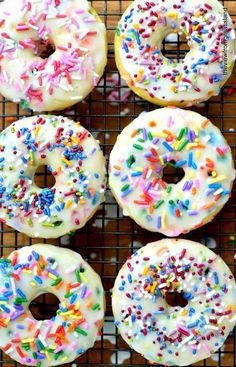 Healthy (er) baked doughnuts! #donuts #baked #sprinkles #treats #desserts