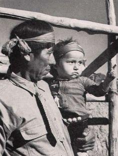 Photo: Clyde Peshlakai and Son - 1940 See more Photos of the Diné (Navajo): http://navajopeople.org/photos/