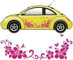 Autoaufkleber Autotattoo Butterfly Hibiskus Schmetterlinge