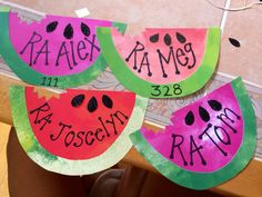 My door decs for the incoming freshman girls and my staff. Simple and cute…