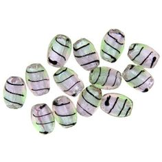 Pugster Mint Bi Cone Silver/ Gold Foil Murano Glass Bracelet Loose Beads Pugster. $5.99. Metal: Silver Foil. Paint Type: Black stripes. Color: Baby Pink, Green. Size (mm): 16x12mm. Shape: Oval. Save 68%!
