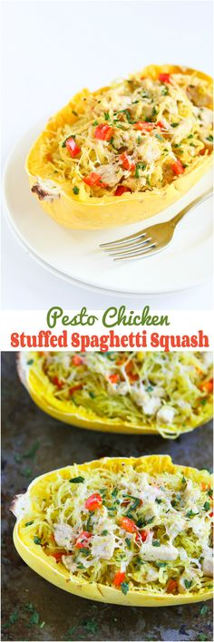 Pesto Chicken Stuffed Spaghetti Squash...Spaghetti squash has never tasted so good! 227 calories and 6 Weight Watchers PP | cookincanuck.com #recipe