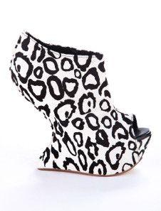 High Heels Leopard Print Nubuck Peep Toe Zipper Wedge Booties