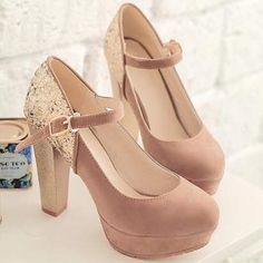 rose gold glitter wedding shoes thick heel
