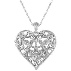 Reeds Diamond Filigree Heart Sterling Silver Locket 1/8ctw ($207) ❤ liked on Polyvore featuring jewelry, necklaces, accessories, colares, collares, heart necklace, heart shaped locket necklace, diamond heart necklace, sterling silver locket and heart locket necklace