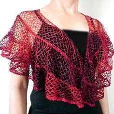 Gilet Crochet, Crochet Ruffle, Knit Or Crochet, Crochet Scarves, Crochet Shawl, Crochet Crafts, Crochet Clothes, Free Crochet, Crochet Humor