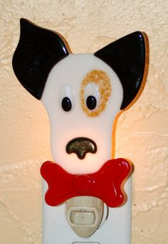 Fused Glass Jack Russell Terrier Night Light - black, white & tan