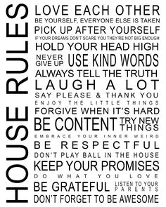 FREE printable house rules / family rules
