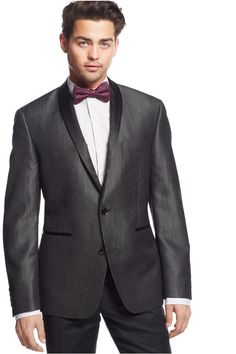 $99, Charcoal Blazer: Bar III Slim Fit Charcoal Shiny Textured Dinner Jacket. Sold by Macy's. Click for more info: https://lookastic.com/men/shop_items/286475/redirect