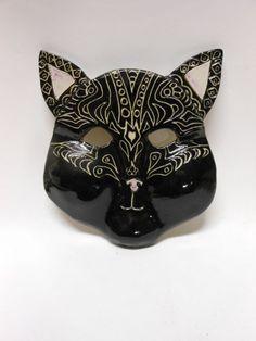 Pretty Kitty Black and White ceramic Mask by Uturn on Etsy, $65.00