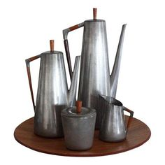 Image of Royal Holland Pewter Coffee Service Set with Tray