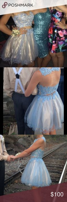 Homecoming/ formal dress Light baby blue and champagne two piece formal dress. In perfect condition only worn once very small alterations to the top Other