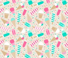 Ice cream party fabric by heleenvanbuul on Spoonflower - custom fabric