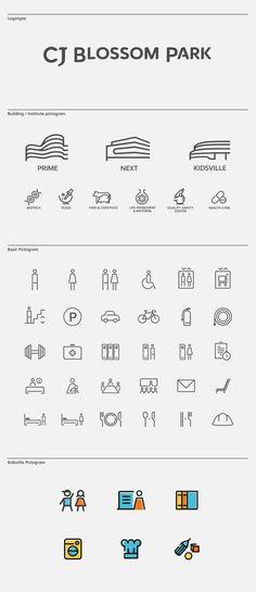 CJ Blossom Park Visual Identity & Wayfinding System on Behance Signage Design, Brochure Design, Branding Design, Logo Design, Identity Branding, Corporate Design, Corporate Identity, App Design, Icon Parking