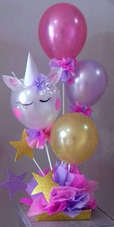 Centerpieces with balloons for your unicorn party, see the options that you . Unicorn Themed Birthday Party, 1st Birthday Parties, Birthday Party Decorations, Diy Birthday, Unicorn Party Decor, Birthday Ideas, Birthday Balloons, Unicorn Centerpiece, Handmade Christmas Crafts