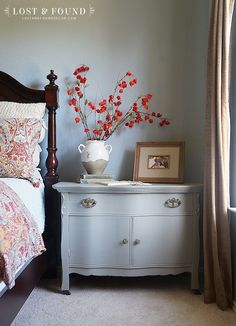 Small Chest Makeover in Fusion Linen--Gorgeous makeover and great way to use a small chest as a nightstand. White Washed Furniture, Grey Bedroom Furniture, Distressed Furniture, Repurposed Furniture, Shabby Chic Furniture, Cool Furniture, Living Room Furniture, Painted Furniture, Painted Dressers