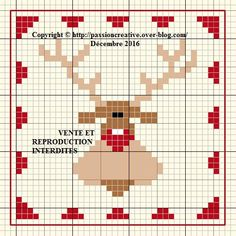 Free cross stitch patterns: ATC Christmas Reindeer - The Isabelle blog ~~ DMC # 310 / 436 / 666 / 738 / B5200