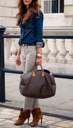 899c250b1621 Denim shirt, high-waisted pants, ankle boots, Louis Vuitton handbag • CHIC