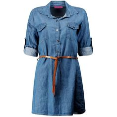 Boohoo Ellie Denim Belted Button Front Shirt Dress | Boohoo (7.260 HUF) ❤ liked on Polyvore featuring dresses, vestidos, blue shirt dress, long shirt dress, belted dresses, belted shirt dress and high waist dress